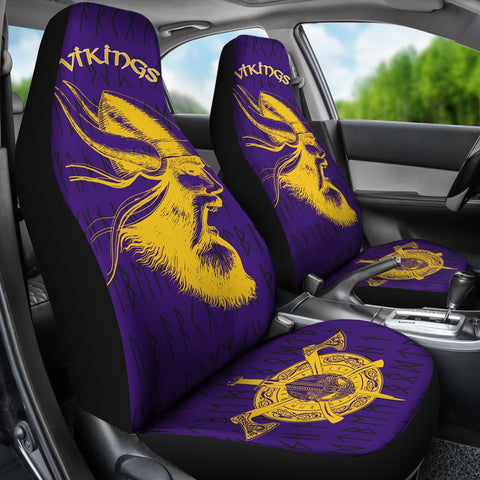 1stIceland Car Seat Covers Viking, Odin's & Helmet Cross Axes Elder Futhark TH7 - 1st Iceland