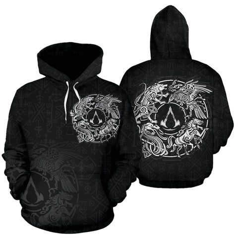1sticeland Viking Valhalla Hoodie Raven with Wolf - Sleipnir TH5
