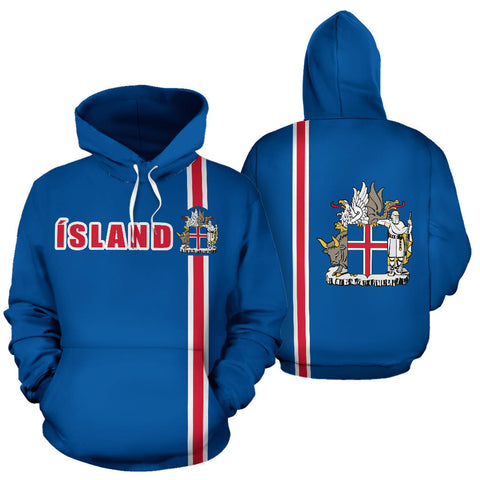 1stIceland Football Pullover Hoodie, Ísland Coat Of Arms K4 - 1st Iceland