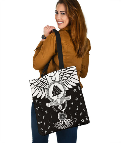 1stIceland Viking Tote Bag, Flying Raven Tattoo And Valknut