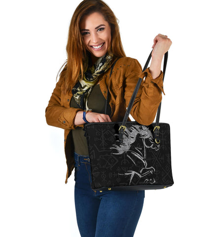 Image of 1stIceland Viking Small Leather Tote, Icelandic Horse Coat Of Arms K4 - 1st Iceland