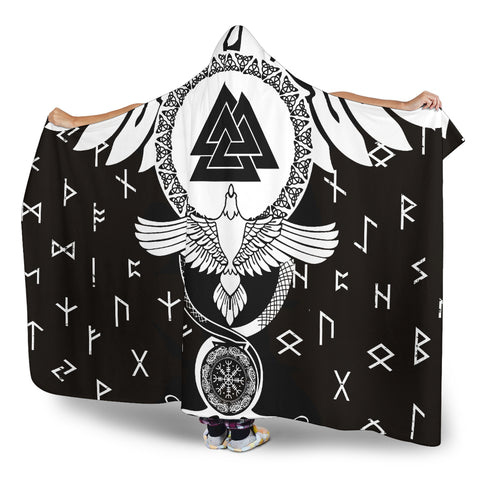 1stIceland Viking Hooded Blanket, Flying Raven Tattoo And Valknut - 1st Iceland