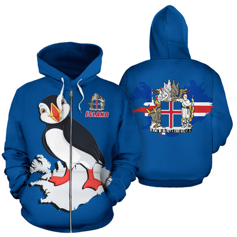 Image of 1stIceland Zip Up Hoodie, Puffin Ísland Map Coat Of Arms K4 - 1st Iceland