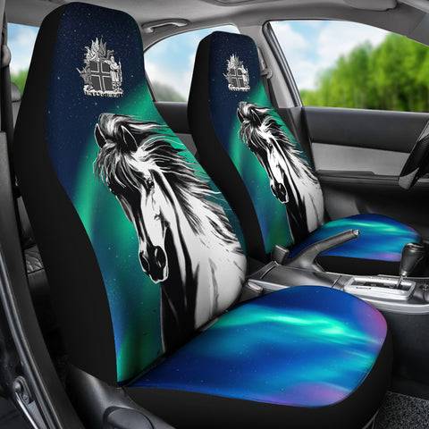 Image of 1stIceland Car Seat Covers, Icelandic Horse Northern Lights K7 - 1st Iceland