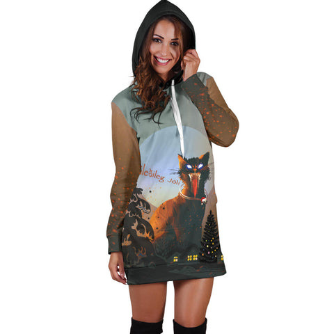 Image of 1stIceland Gleðileg Jól Hoodie Dress, Yule Cat 02 - 1st Iceland
