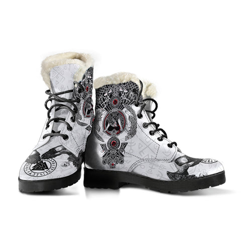 Image of 1stIceland Viking Faux Fur Leather Boots, Odin's Ravens Valknut Fenrir Skoll And Hati K5 - 1st Iceland
