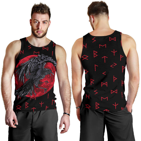 1stIceland Viking Men Tank Top , Odin Raven with Blood Moon Th5 - 1st Iceland