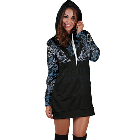 Image of 1stIceland Vikings Women's Hoodie Dress, Geri & Freki with Triskele TH5 - 1st Iceland