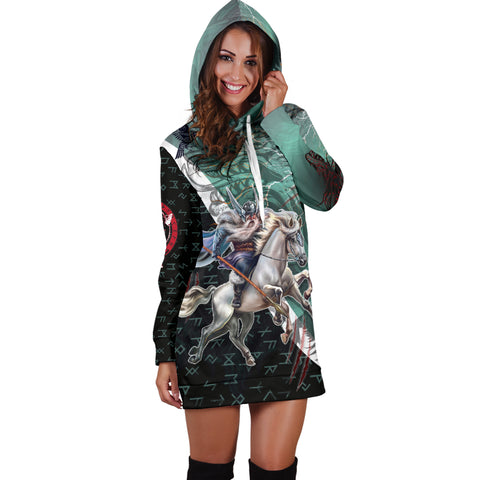 Image of The Viking Runes Women Hoodie Dress Odin And Sleipnir K13 - 1st Iceland