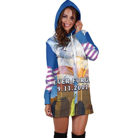 1stIceland American Firefighters Women Hoodie Dress 9.11.01 Gratitude K8 - 1st Iceland
