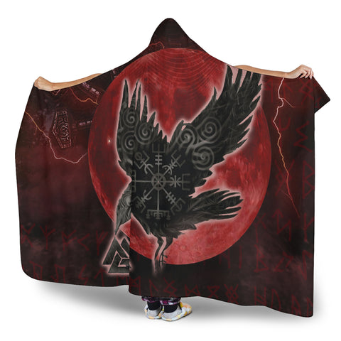 Image of 1stIceland Viking Hooded Blanket, Raven Helm Of Awe Valknut Mjolnir Rune TH70 - 1st Iceland