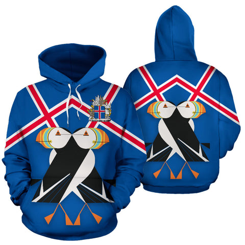 Image of 1stIceland Pullover Hoodie, Iceland Flag Coat Of Arms Puffins K7 - 1st Iceland