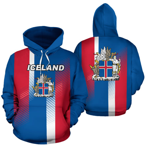 1stIceland Pullover Hoodie, Ísland Flag Coat Of Arms K5 - 1st Iceland