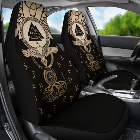 1stIceland Viking Car Seat Covers, Flying Raven Tattoo And Valknut Gold - 1st Iceland