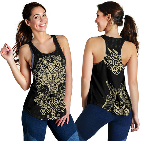 Image of 1stIceland Viking Wolf Fenrir Women's Racerback Tank TH12 - 1st Iceland