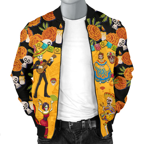 1stIceland Mexican Día de Muertos Bomber Jacket For Men Cempasúchil Flowers K8 - 1st Iceland