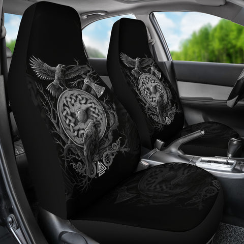 1stIceland Viking Car Seat Covers, Odin's Raven Shield Axe (White) Th5