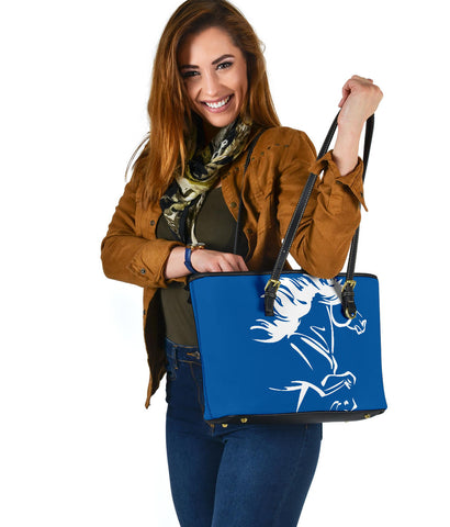 Image of 1stIceland Small Leather Tote, Icelandic Horse Coat Of Arms K4