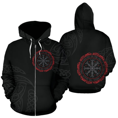 1stIceland Viking Zip Up Hoodie, Helm Of Awe Aegishjalmur Triskele K5 - 1st Iceland