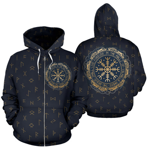 1stIceland Viking Zip Up Hoodie, Helm Of Awe Aegishjalmur Runes K5 - 1st Iceland
