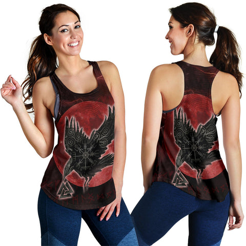 1stIceland Viking Women Racerback Tank, Raven Helm Of Awe Valknut Mjolnir Rune TH70 - 1st Iceland