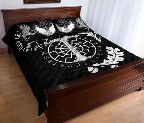 1stIceland Viking Oak Leaf Quilt Bed Set Valknut Vegvisir With Irminsul - Black K8 - 1st Iceland