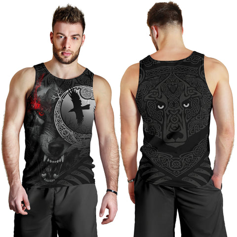 Image of 1stIceland Viking Angry Moon Wolf Men's Tank Top TH12 - 1st Iceland