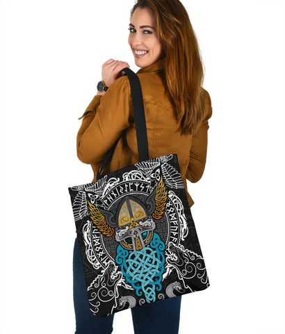 Image of 1stIceland Viking Tote Bag, Odin Helmet Valnut Helm Of Awe Odin A7 - 1st Iceland