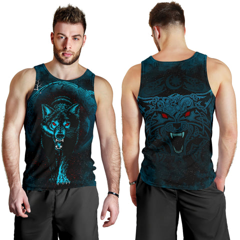 1stIceland Viking Men's Tank Top Moon Wolf Tattoo TH12 - 1st Iceland