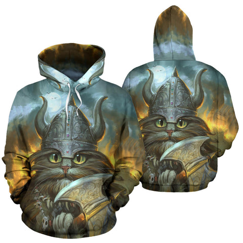 1stIceland Viking Pullover Hoodie, Freya's Cat With Helmet Axe K5 - 1st Iceland