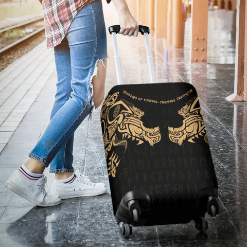 1stIceland Viking Luggage Covers, Fenrir Tattoo The Ragnarok - Gold K4 - 1st Iceland