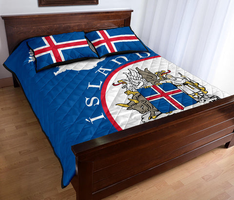 1stIceland Quilt Bed Set, Ísland Map Coat of Arms TH0 - 1st Iceland