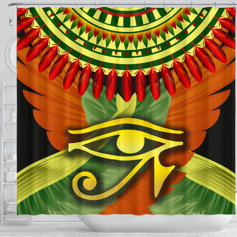 1stIceland Horus Eye Shower Curtain Ankh Egypt Eagle Wings K8 - 1st Iceland