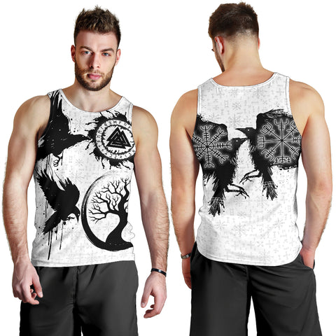 1stIceland Viking Valknut Huginn and Muninn Men Tank Top Yggdrasil, Vegvisir Helm of Awe - White K8 - 1st Iceland