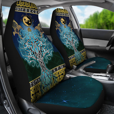 1stIceland Viking Car Seat Covers, Tree Of Life Fenrir Skoll And Hati Raven Rune TH00 - 1st Iceland