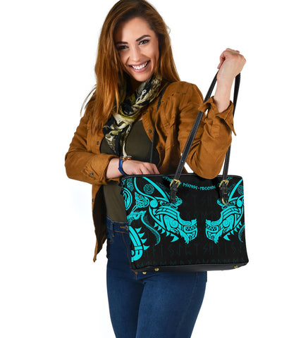 1stIceland Viking Small Leather Tote, Fenrir Tattoo The Ragnarok - Blue K4 - 1st Iceland