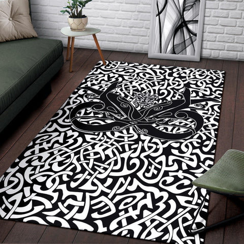 Image of 1stIceland Celtic Area Rug, Celtics Dragon Tattoo Th00 - White - 1st Iceland