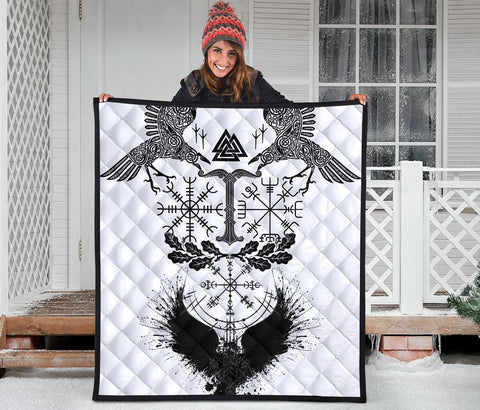 Image of 1stIceland Viking Oak Leaf Premium Quilt Valknut Vegvisir With Irminsul - White No.1 K8 - 1st Iceland