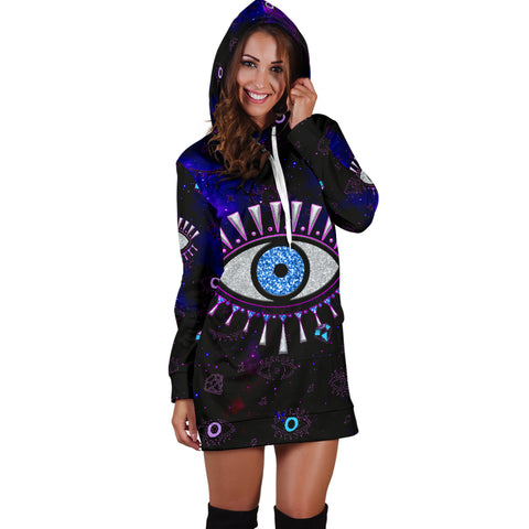 Image of 1stIceland Evil Eye Women Hoodie Dress Simple Style - Black K8 - 1st Iceland