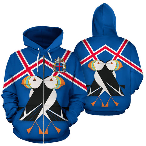 1stIceland Zip Up Hoodie, Puffins Iceland Flag Coat Of Arms K7 - 1st Iceland