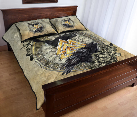 1stIceland Viking Quilt Bed Set, Raven Valknut Tree Of Life Rune Circle TH00 - 1st Iceland