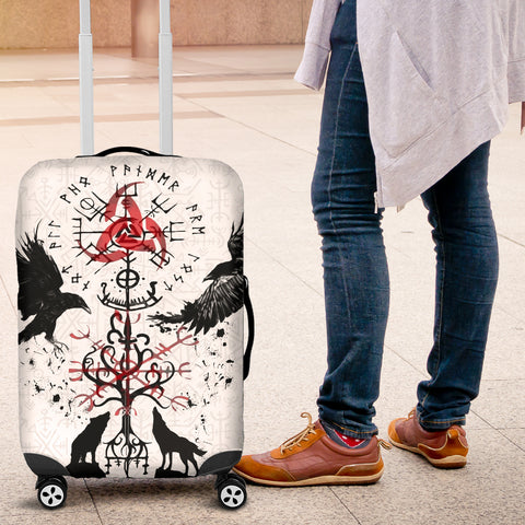 1stIceland Viking Luggage Cover, Vegvisir Hugin and Munin with Fenrir Yggdrasil K4 - 1st Iceland