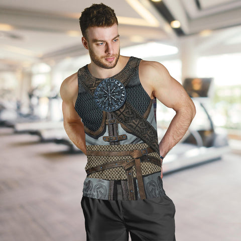 Image of 1stIceland Viking Men Tank Top, 3D Vikings Armor with Helm Of Awe Th00 - 1st Iceland