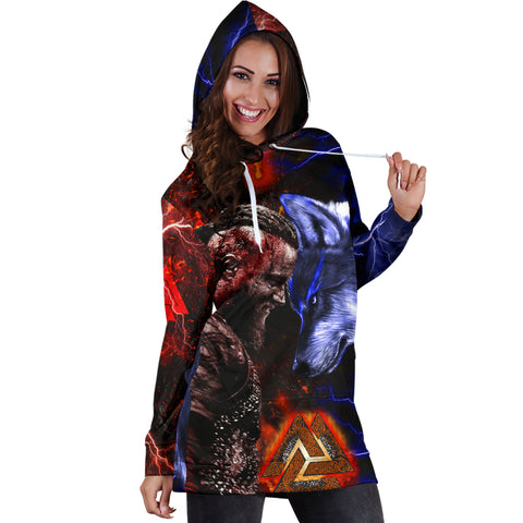 Image of 1stIceland Viking Women's Hoodie Dress Ragnar and Wolf TH12 - 1st Iceland