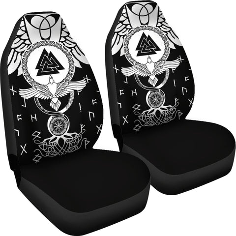 1stIceland Viking Car Seat Covers, Flying Raven Tattoo And Valknut - 1st Iceland