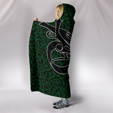 1stIceland Celtic Hooded Blanket, Celtics Dragon Tattoo Th00 - Green - 1st Iceland