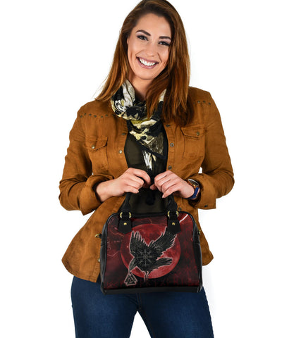 1stIceland Viking Shoulder Handbag, Raven Helm Of Awe Valknut Mjolnir Rune TH70 - 1st Iceland
