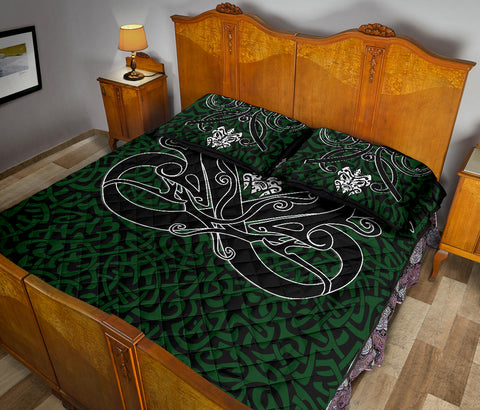 1stIceland Celtic Quilt Bed Set, Celtics Dragon Tattoo Th00 - Green - 1st Iceland
