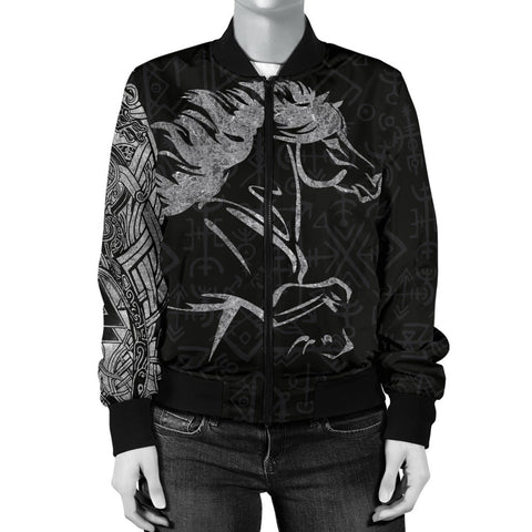 1stIceland Viking Women Bomber Jacket, Icelandic Horse Coat Of Arms K4 - 1st Iceland