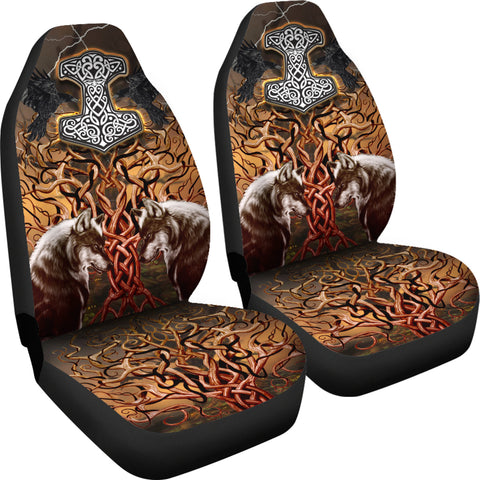 Image of 1stIceland Viking Car Seat Covers, Tree Of Life Fenrirs Mjolnir Ravens K4 - 1st Iceland